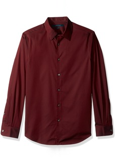 Perry Ellis Men's Travel Luxe Solid Non-Iron Twill Shirt Burnt Russet-4CFW4000
