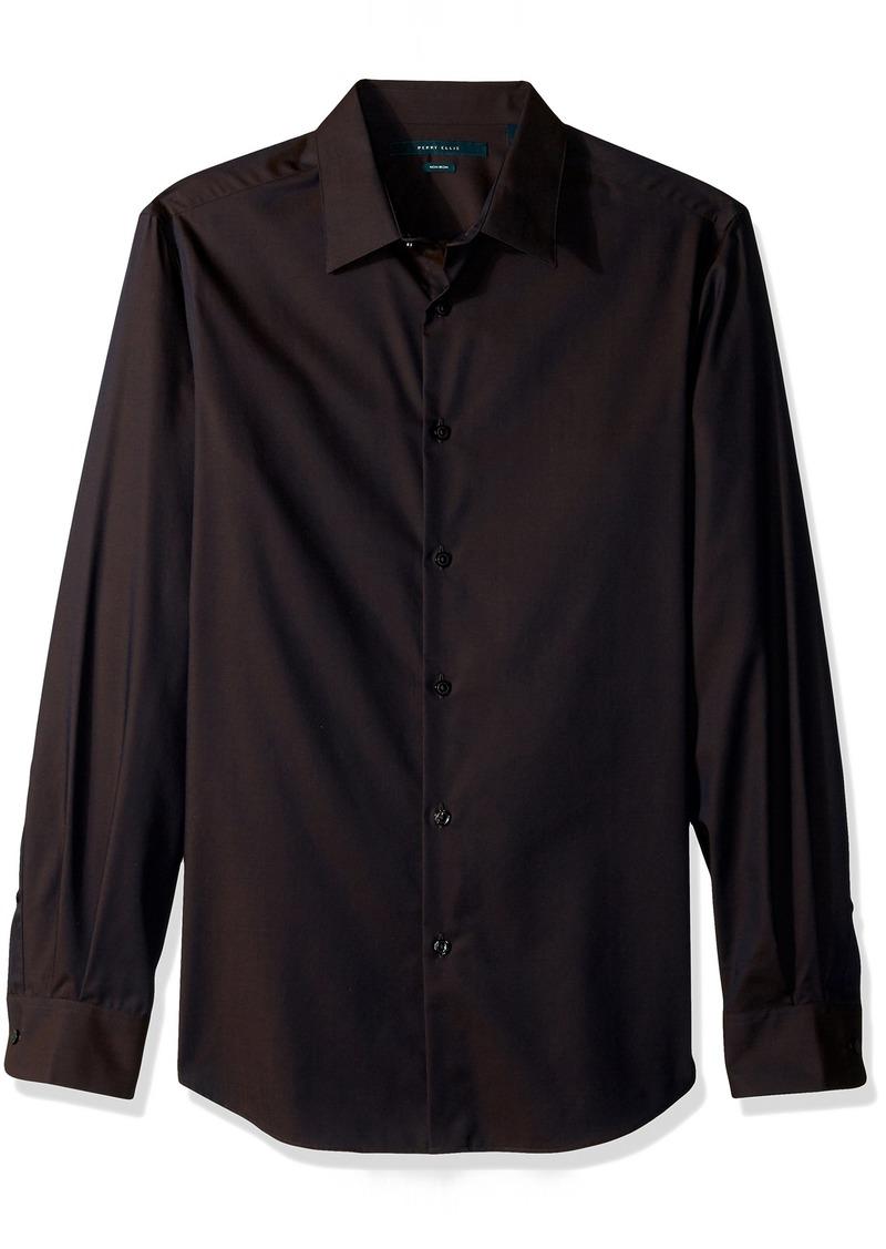 Perry Ellis Men's Travel Luxe Solid Non-Iron Twill Shirt Dark Sapphire-4CFW4000