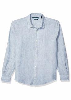 Perry Ellis Men's Untucked Roll Striped Linen Long Sleeve Button-Down Shirt