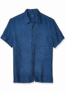 Perry Ellis Men's Untucked Solid Linen Short Sleeve Button-Down Shirt  X Large