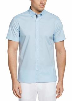 Perry Ellis Men's Untucked Stretch Solid Poplin Short Sleeve Button-Down Shirt