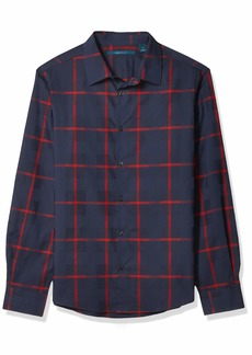 Perry Ellis Men's Untucked Wide Windowpane Plaid Dobby Long Sleeve Button-Down Shirt  XX Large