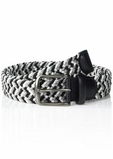 Perry Ellis Men's Woven Stretch Leather-Trim Belt