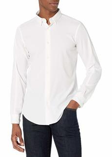 Perry Ellis Motion Men's Slim Fit Crosshatch Long Sleeve Button-Down Stretch Shirt  X Large