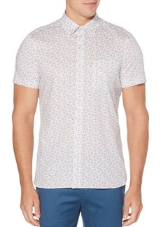 Perry Ellis Multi-Color Fish Print Short Sleeve Button-Down Shirt