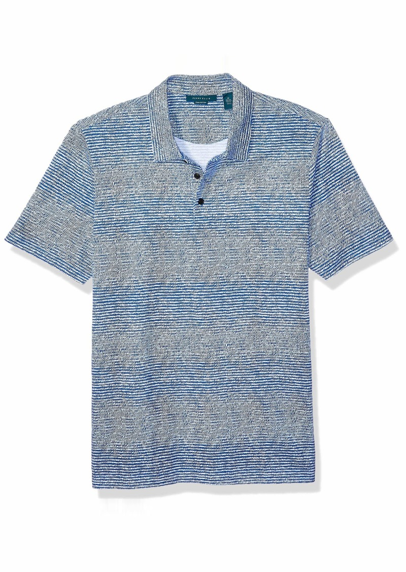 Perry Ellis Pima cotton Scribble Print Short Sleeve Polo ShirtX Large