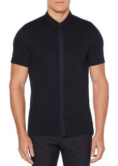 Perry Ellis Pique Short-Sleeve Button-Down Shirt