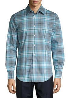Perry Ellis Plaid Spill-Resistant Button-Front Shirt