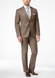 Perry Ellis Portfolio Men's Medium Brown Sharkskin Extra-Slim Fit Suit