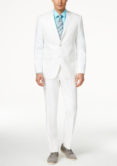 Perry Ellis Portfolio White Solid Linen-Blend Slim-Fit Suit