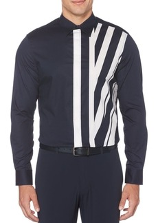 Perry Ellis Principles Regular-Fit Engineered Striped Shirt