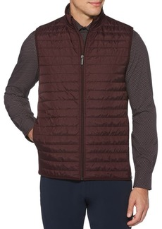 Perry Ellis Quilted Mix-Media Zip Vest