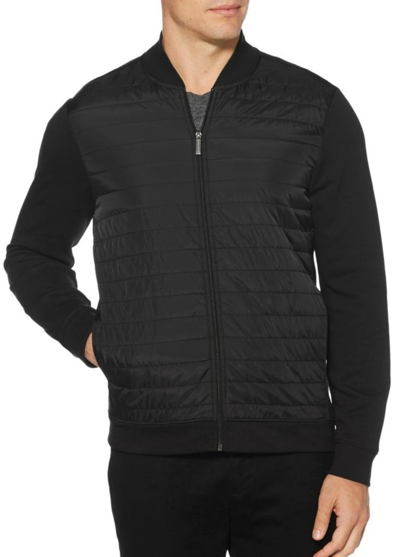 Perry Ellis Quilted Mixed-Media Full Zip Jacket