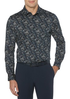Perry Ellis Rose-Print Stretch Shirt