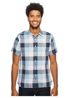 Perry Ellis Short Sleeve Buffalo Plaid Linen Shirt