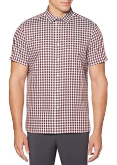Perry Ellis Short-Sleeve Check Button-Down Shirt