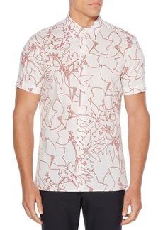 Perry Ellis Short Sleeve Floral Outline Shirt