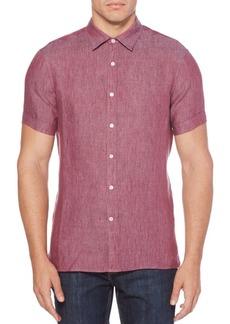 Perry Ellis Short-Sleeve Linen Button-Down Shirt