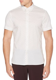 Perry Ellis Short-Sleeve Mini Print Button-Down Shirt