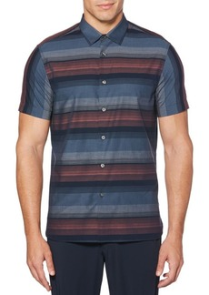 Perry Ellis Short-Sleeve Ombré Stripe Button-Down Shirt
