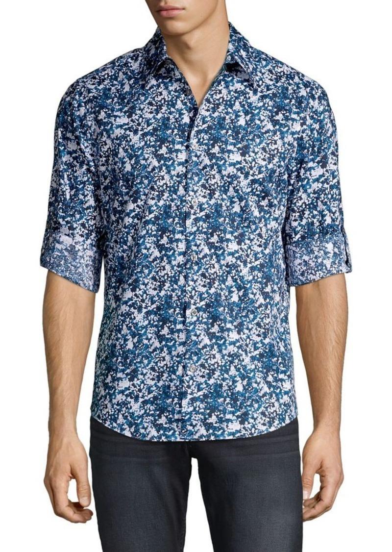 Perry Ellis Slim-Fit Printed Stretch Roll-Tab Shirt