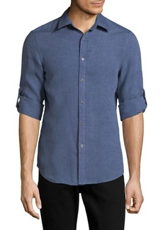 Perry Ellis Regular-Fit Linen Button-Down Shirt