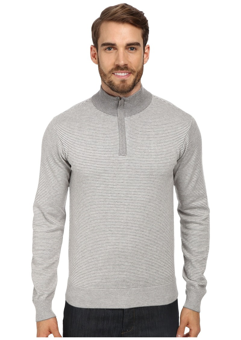 Perry Ellis Stripe Quarter Zip Sweater