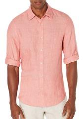 PERRY ELLIS Textured Rolled-Sleeve Linen Shirt