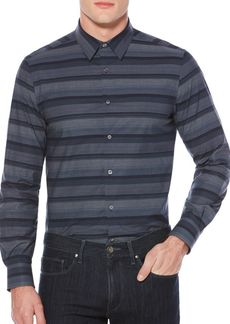 Perry Ellis Wide Engineered Cotton Casual Button-down Shirt