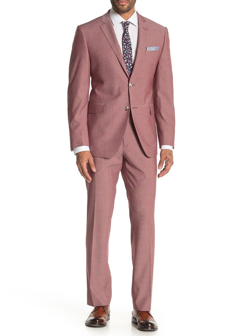 Perry Ellis Pink Solid Two Button Notch Lapel Slim Fit Suit