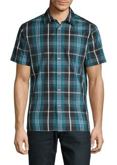Perry Ellis Plaid Short-Sleeve Button-Down Shirt