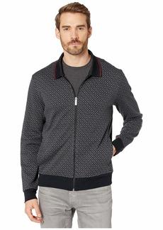 Perry Ellis Printed Jacquard Full Zip Long Sleeve Shirt
