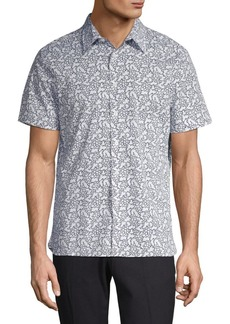 Perry Ellis Printed Short-Sleeve Button-Down Shirt