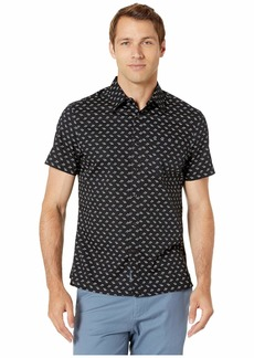 Perry Ellis Screw Print Stretch Short Sleeve Shirt