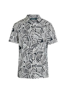 Perry Ellis Short-Sleeve Abstract Palm Leaf Print Shirt