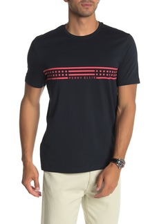 Perry Ellis Short Sleeve Chest Stripe Brand Logo T-Shirt