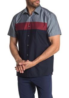 Perry Ellis Short Sleeve Colorblock Button Down Shirt