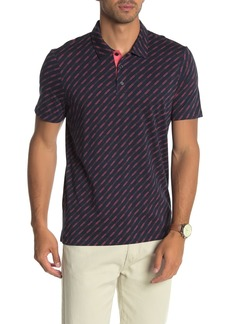 Perry Ellis Short Sleeve Diagonal Line Print Polo