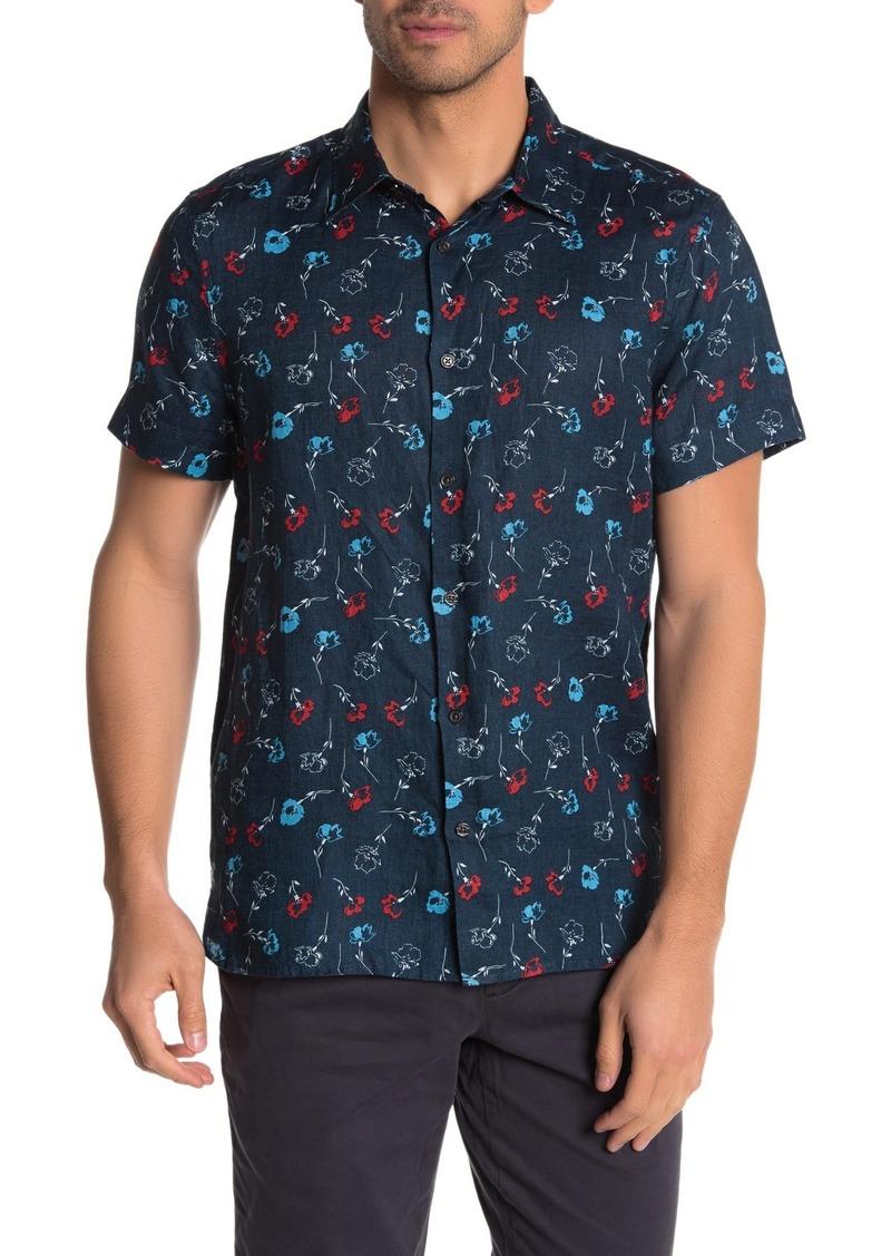 Perry Ellis Short Sleeve Floral Print Linen Shirt