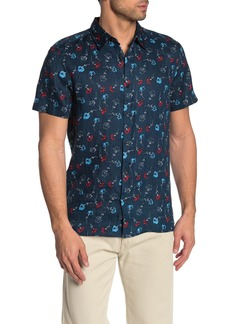 Perry Ellis Short Sleeve Floral Print Linen Shirt
