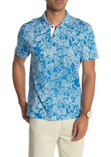 Perry Ellis Short Sleeve Hydrangea Print Polo