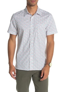 Perry Ellis Short Sleeve Lucky Fish Print Slim Fit Shirt