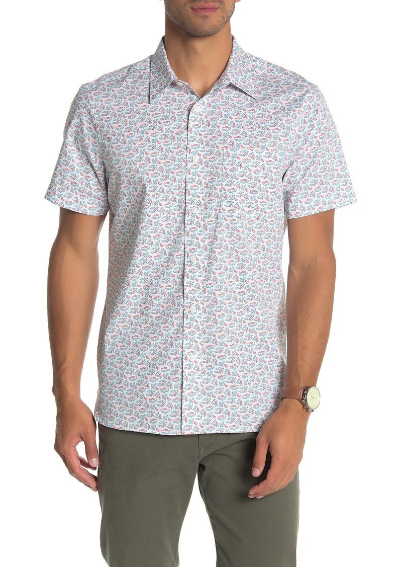 Perry Ellis Short Sleeve Lucky Fish Print Slim Fit Shirt