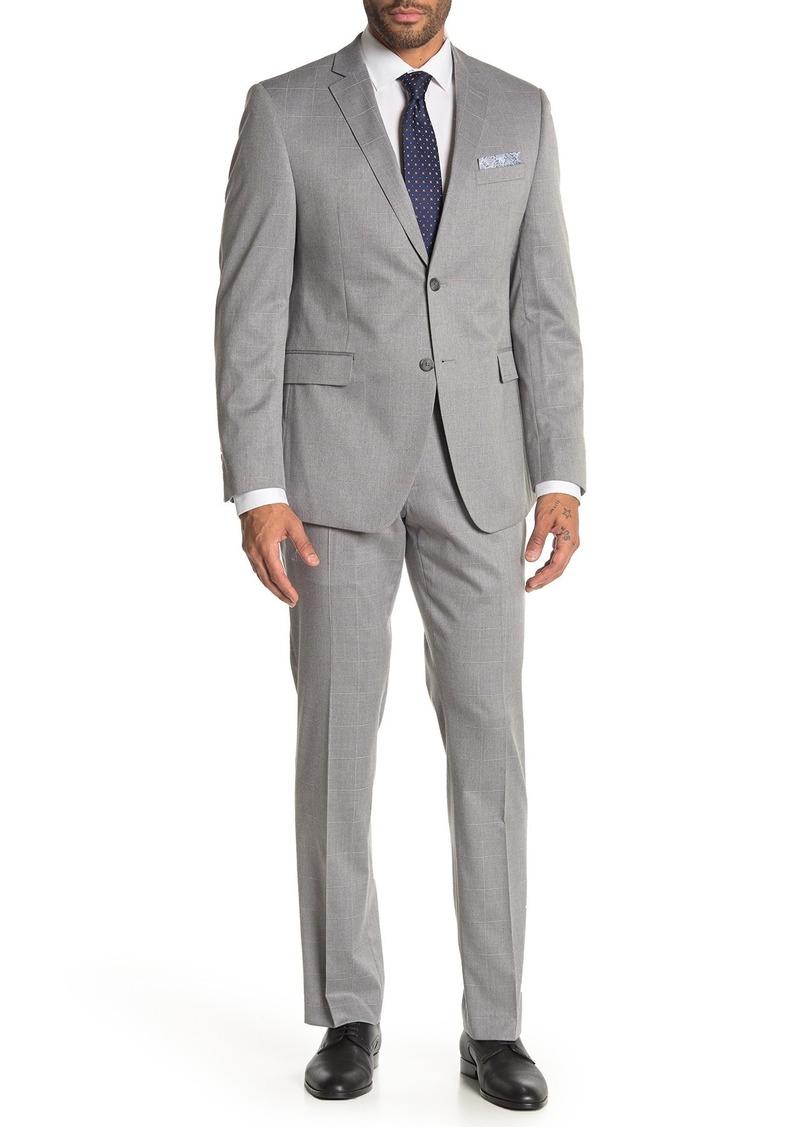 Perry Ellis Silver Plaid Two Button Notch Lapel Slim Fit Suit