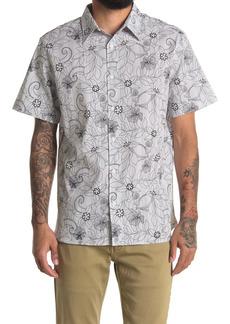 Perry Ellis Sketch Floral Print Short Sleeve Shirt