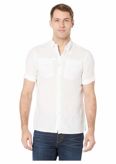 Perry Ellis Slim Fit Linen Short Rolled Sleeve Shirt