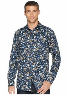 Perry Ellis Slim Fit Satin Floral Print Shirt