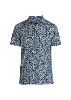 Perry Ellis Slim-Fit Short-Sleeve Multicolor Floral Shirt