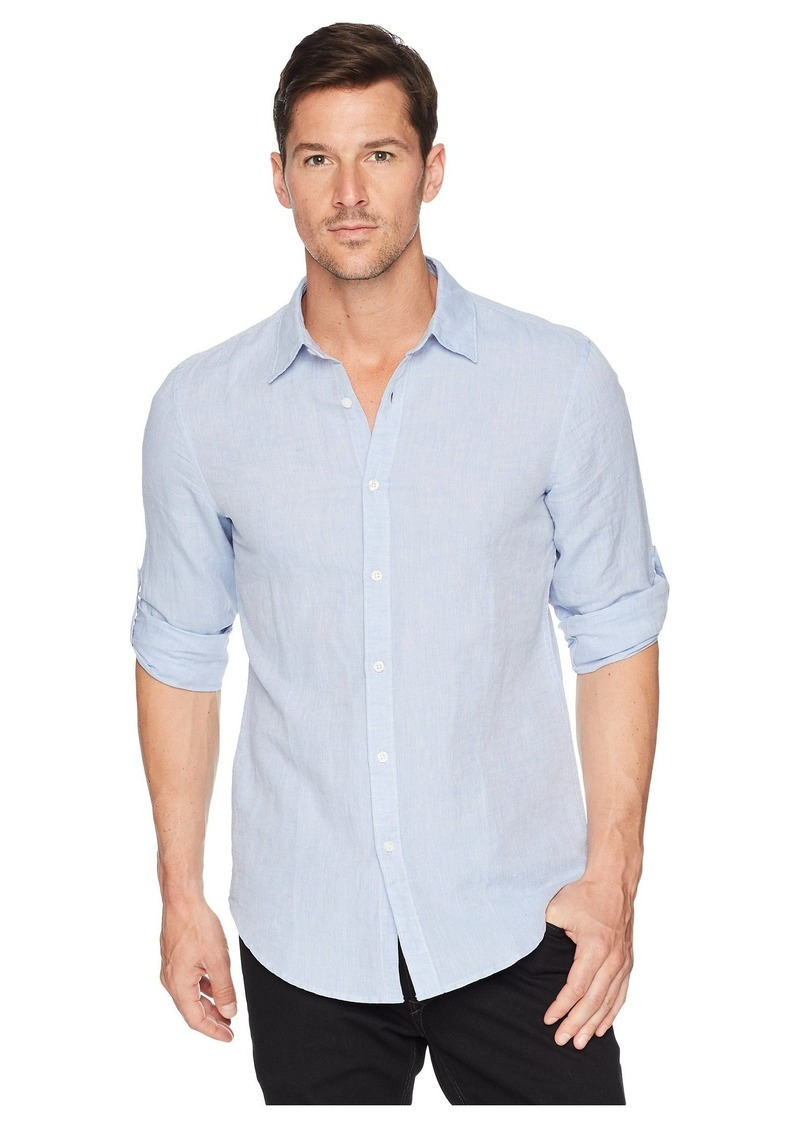 Perry Ellis Slim Fit Solid Linen Roll Sleeve Shirt