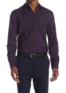 Perry Ellis Slim Stretch Floral Print Button Front Shirt